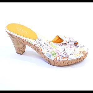 COACH KAREN Poppy Pop Cork Heel Slides Sandals 8.5